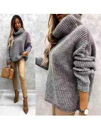 Дамски пуловер в сиво - код 3029