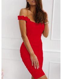 Дамска рокля с ефектни презрамки в червено - код 029