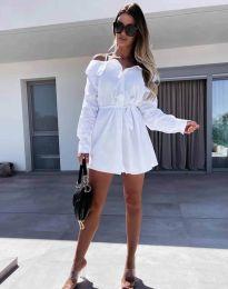 Атрактивна дамска рокля в бяло с голи рамене - код 1457