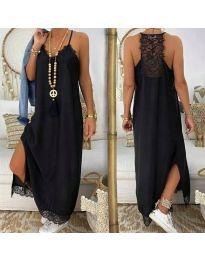 Дълга рокля с дантела в черно - код 2575