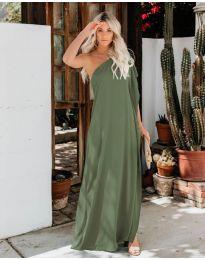 Дълга рокля с цепка в маслено зелено - код 6681