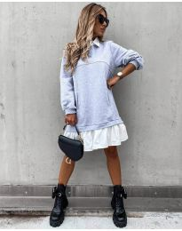Свободна дамска рокля в сиво - код 5516