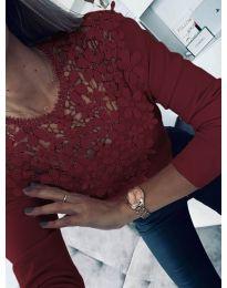 Стилна блуза в бордо - код 6660