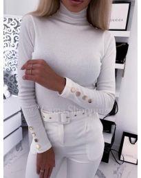 Дамска блуза с поло яка в бяло - код 460
