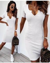 Изчистена рокля в бяло - код 8829