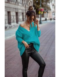 Дамски пуловер в цвят тюркоаз - код 5952