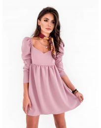 Елегантна рокля в цвят пудра - код 390