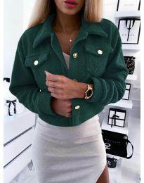 Дамско късо палто  в зелено - код 9495
