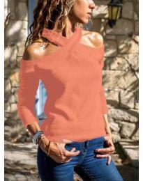 Дамска блуза в цвят корал - код 4616