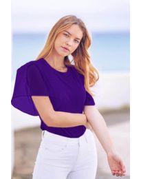 Изчистена дамска тениска с интересен ръкав в тъмно лилаво - код 527