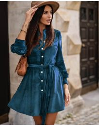 Дамска рокля в  синьо - код 3999