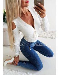 Бяла блуза с цип - код 163