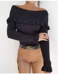 Дамска блуза с лодка деколте в черно - код 7131