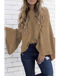 Блуза с ефектни ръкави в цвят капучино - код 076