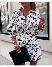 Къса дамска рокля в бял цвят - код 748