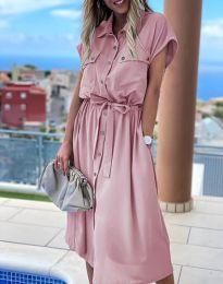 Свободна дамска рокля в цвят пудра - код 6344