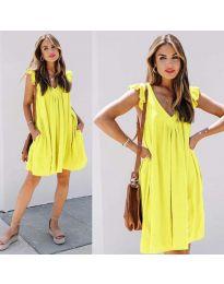 Свободна изчистена рокля в жълто - код 5090