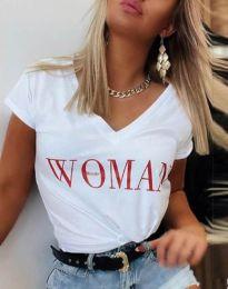 Тениска в бяло с принт - код 4435