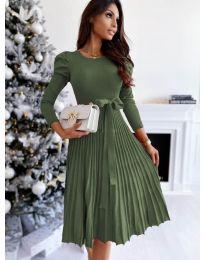 Кокетна рокля в маслено зелено - код 3939
