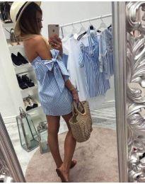 Рокля тип риза на каре в синьо - код 061