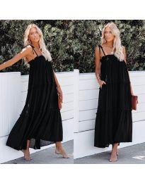 Дълга ефирна рокля в черен цвят - код 551