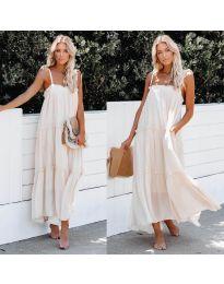 Дълга ефирна рокля в бял цвят - код 551