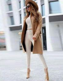 Дамско палто в цвят капучино - код 2749