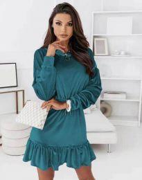 Атрактивна дамска рокля в цвят тюркоаз - код 0424