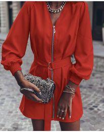 Дамска рокля с цип в червено - код 820