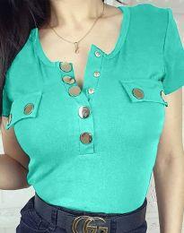 Дамска блуза в цвят тюркоаз - код 3748