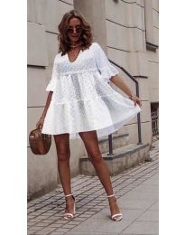 Свободна къса дамска рокля в бяло - код 278