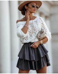 Дамски пуловер  в бяло - код 5966