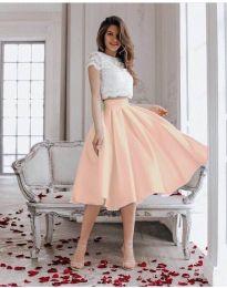 Плисирана пола с висока талия в цвят пудра - код 869