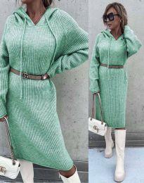 Изчистена дамска рокля в цвят мента - код 6449