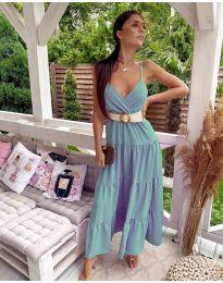 Свободна дълга рокля в цвят тюркоаз - код 719