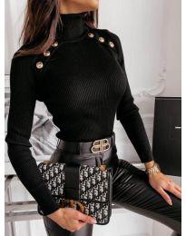 Дамска блуза с поло яка в черно - код 1910