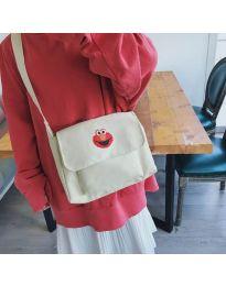 Дамска чанта с ефектен принт в бяло- код B523