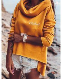 Блуза с ефектна яка в цвят горчица - код 7878