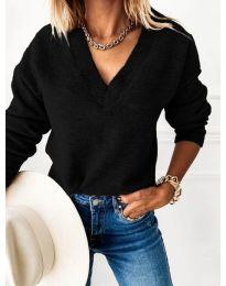 Дамски пуловер в черно - код 6012