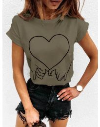 Дамска тениска в маслено зелено - код 2266