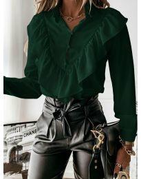 Дамска риза в тъмно зелено - код 9032