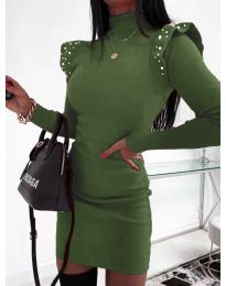 Елегантна рокля по тялото в масленозелено - код 2323