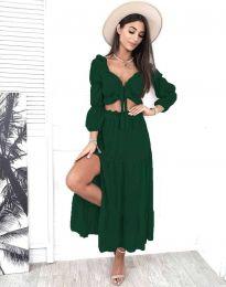 Дамски комплект къс топ с дълъг ръкав и дълга пола с висока талия в тъмнозелено - код 3954