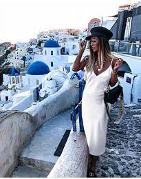 Изчистена рокля в цвят бяло - код 0005