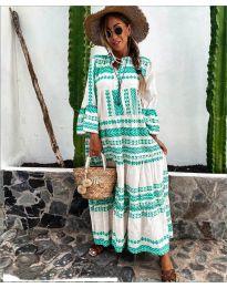Дълга рокля с атрактивен десен в бяло и зелено - код 3355-4