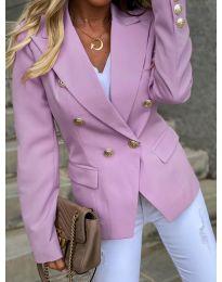 Вталено дамско сако с копчета в цвят пудра - код 426