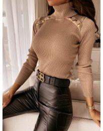 Дамска блуза с поло яка в цвят капучино - код 1910