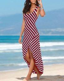 Лятна рокля на райе в червено - код 5669