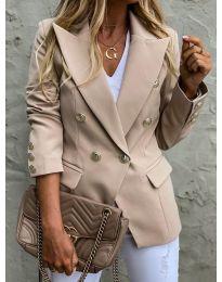Вталено дамско сако с копчета в бежово - код 426