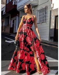 Дълга ефирна рокля в червено - код 5520